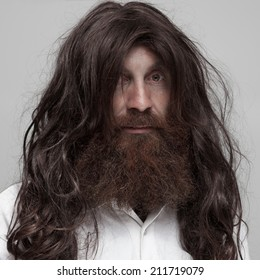 Hairy man portrait.