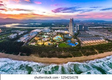 Haitang Bay, Sanya, Hainan Province, China - November 24, 2018: The Third Hainan International Youth Festival Opened with Swimming Pool Party at Atlantis Sanya Resort