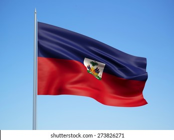 haiti 3d flag floating in the wind with a blue sky background