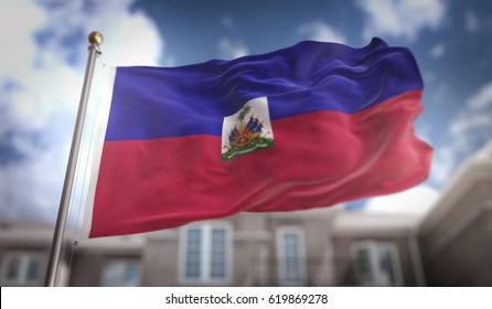 Haiti Flag 3D Rendering on Blue Sky Building Background