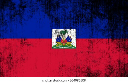 Haiti flag grunge background. Background for design in country flag