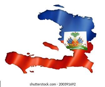 Haiti flag map, three dimensional render, isolated on white