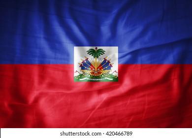 Haiti  flag on grunge fabric