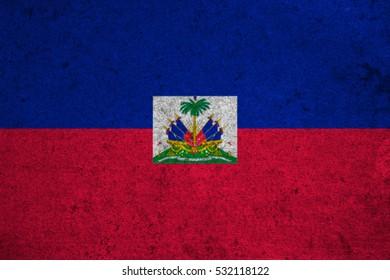 haiti flag on an old grunge background