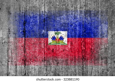 Haiti flag painted on background texture gray concrete