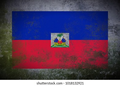 Haiti flag painted on old_mossy_concrete_wall texture background