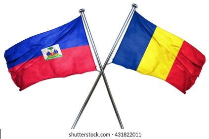 Haiti flag with Romania flag, 3D rendering