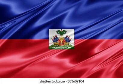 Haiti flag of silk