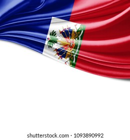 Haiti  flag  of silk with copyspace for your text or images and white background-3D illustration