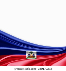 Haiti flag of silk with copyspace for your text or images and white background