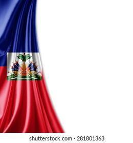 Haiti  flag of silk and white background