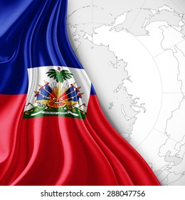 Haiti  flag of silk with world map and white background