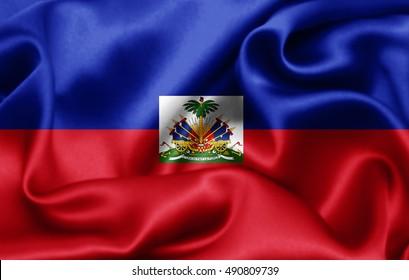 Haiti flag of silk-3D illustration