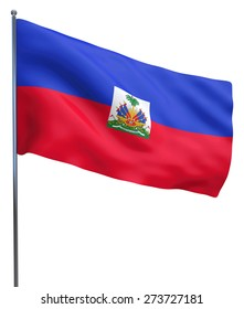 Haiti flag waving image isolated on white. Clipping path included.