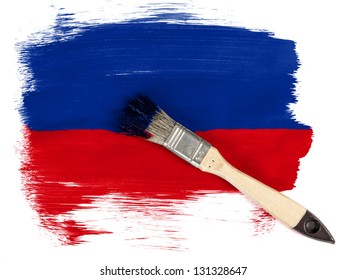 Haiti. Haitian flag  painted with brush over it
