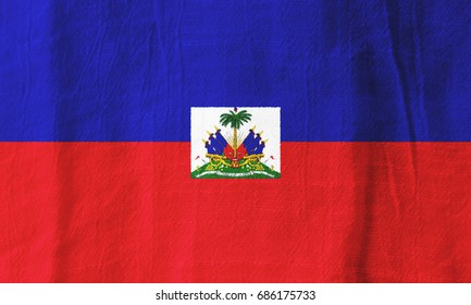 Haiti national flag from fabric for graphic design.