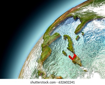 Haiti as seen from orbit on model of Earth. 3D illustration with atmosphere and reflective ocean waters. Elements of this image furnished by NASA.