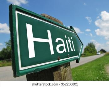 Haiti signpost along a rural road