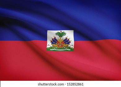 Haitian flag blowing in the wind. Part of a series.