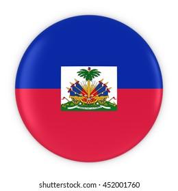 Haitian Flag Button - Flag of Haiti Badge 3D Illustration