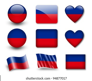 The Haitian flag - set of icons and flags. glossy and matte on a white background.