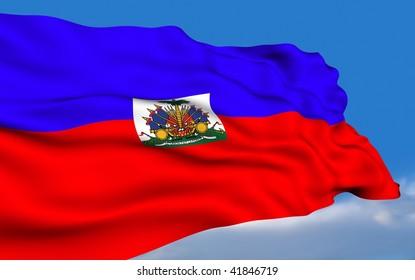 Haitian Flag waving on wind.