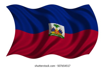 Haitian national official flag. Patriotic symbol, banner, element, background. Correct colors. Flag of Haiti with real detailed fabric texture wavy isolated on white, 3D illustration