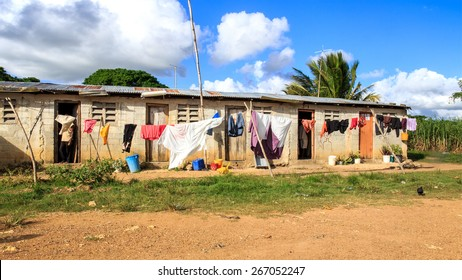 Haitian refugee camp on sugar cane plantation in Dominican Republic