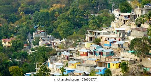 Haitian rural buildings on a hill. Haiti.