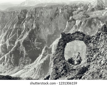 Hajducka Vrata, black and white photo of an nature phenomenon located on Cvrsnica mountain