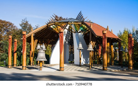 HAJDUSZOBOSZLO, HUNGARY - NOVEMBER 2,2015: The Bell House built in 2000 by Zoltan Ratz architecht. The Bell house is now the main attraction in the spa city