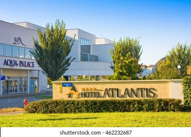 HAJDUSZOBOSZLO, HUNGARY - NOVEMBER 2,2015: Hotel Atlantis****superior Medical, Wellness & Conference, situated close to famous thermal spa Aqua Palace. it was opened July 1st 2011