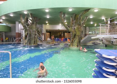 Hajduszoboszlo / Hungary - September 24, 2019: pools of Aqua Palace, a covered aquapark with several levels and theme pools.