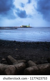 Haji Ali Dargah during blue hour under heavy clouds in Mumbai