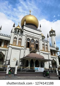 Haji Lane, Singapore- December 18, 2018: The Masjid Sultan mosque was built in 1824 for Sultan Hussein Shah, the local's first sultan. The mosque was designed by Swan and Maclaren and rebuilt in 1932.