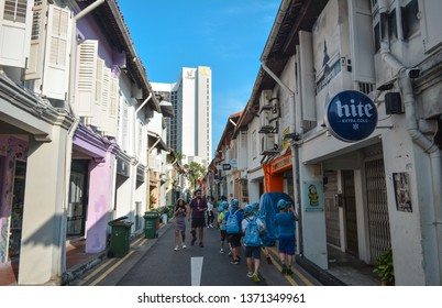Haji lane, Singapore - January 26, 2019: Haji Lane, It's in the Kampong Glam. Young people frequent the shophouses along this lane for the independent fashion boutiques and Middle Eastern cafes