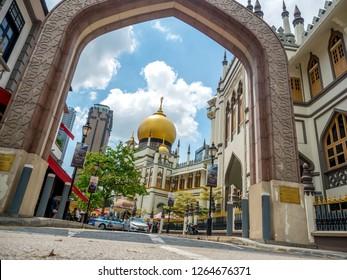 Haji Lane, Singapore Nov 26, 2018; Main view of Masjid Sultan at Muscat Street in the Kampong Glam. Muslim quarter (Arab quarter) of Singapore is a popular touris.