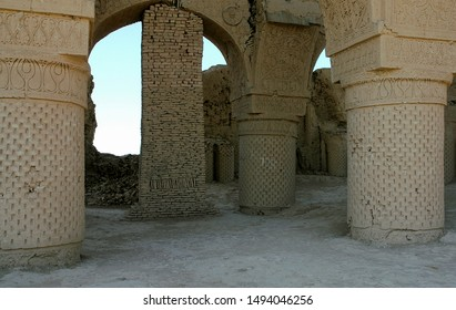 The Haji Piyada mosque (Noh Gumbad) just outside Balkh is the oldest known Islamic building in Afghanistan. Remains of decorated columns and arches. Balkh in Balkh Province, northern Afghanistan.  - Shutterstock ID 1494046256