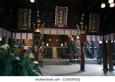 Hakata, Fukuoka, Japan - August 7 2018 : Kushida Shrine, a Shinto shrine located in Hakata-ku, Fukuoka, Japan. Dedicated to Amaterasu and Susanoo, it is said to have been founded in 757.