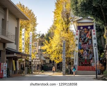 Hakata, Japan - Dec 5, 2018: Kushida Jinja and the great symbolic ginkgo trees in Fukuoka.