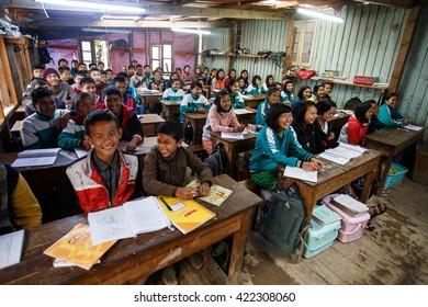 HAKHA, MYANMAR - JUNE 19 2015: Students in loocal school in the Hakha region in Chin State, Myanmar.