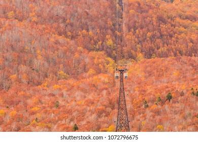 Hakkoda Mountains and  Hakkoda Ropeway in autumn at Aomori , Japan