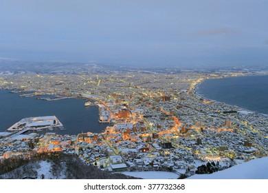 HAKODATE CITY, HOKKAIDO, JAPAN- JAN 11: City View from Hakodate Mt at evening, January 11, 2009