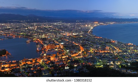 Hakodate City view from Mountain Hakodate, Hokkaido, Japan