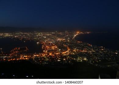 Hakodate city view from Hakodate mountain. Hakodate, Hokkaido, Japan. April. 20 April 2018