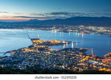 Hakodate City view from Mountain Hakodate, winter season, Hokkaido, Japan