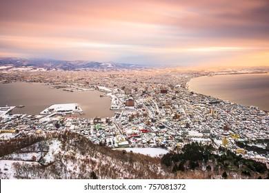 Hakodate, Hokkaido, Japan dawn skyline in winter.