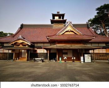 Hakodate, Hokkaido, Japan- May 7, 2017: Hakodate Magistrate's Office in Goryokaku Park, Hakodate, Hokkaido, Japan