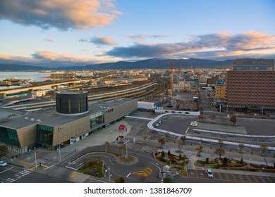 Hakodate, Hokkaido Japan - October 18, 2018 : JR Hakodate Station Take a picture from the Four Points by Sheraton Hakodate.