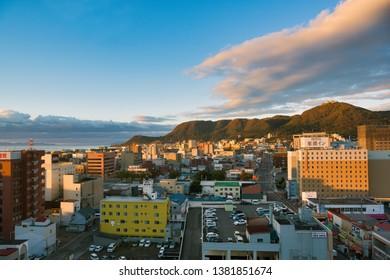 Hakodate, Hokkaido Japan - October 18, 2018 : Hakodate City, taken from the hotel Points by Sheraton Hakodate.